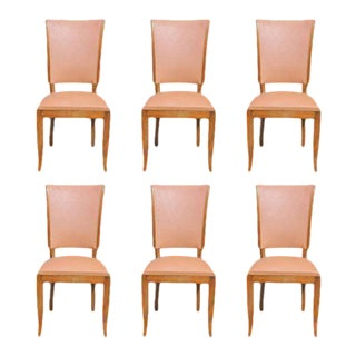 Beautiful French Art Deco Solid Mahogany Dining Chairs Circa 1940s - Set of 6