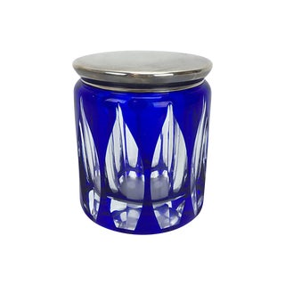 Cobalt Art Glass Box W/ Silverplate Lid For Sale