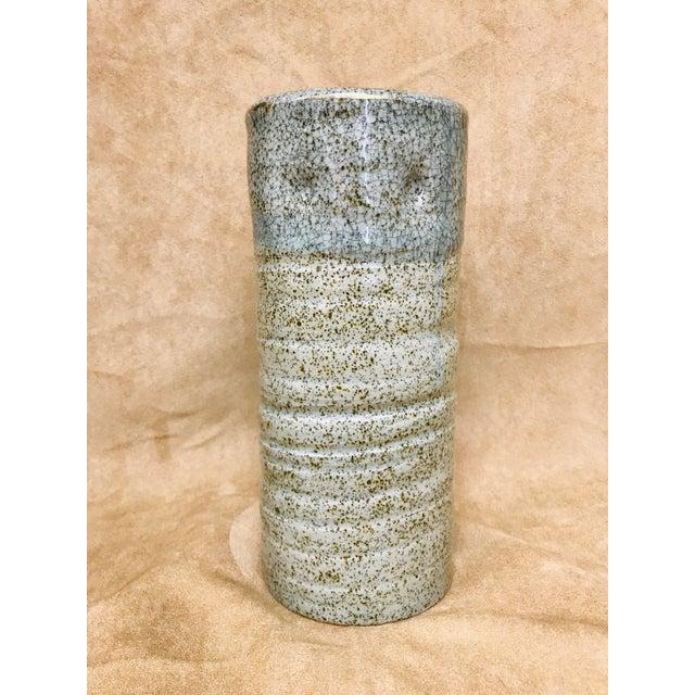 Boho Chic Vintage Speckled Crackled Glaze Hand Crafted Pottery Vase For Sale - Image 3 of 9