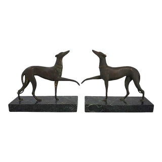 Antique Bronze Whippet Bookends - a Pair For Sale