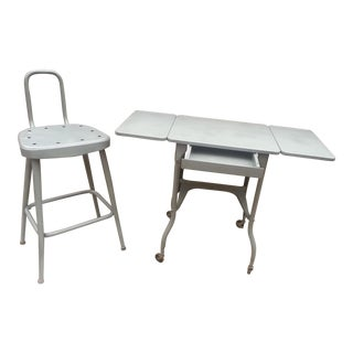 Industrial Drop Leaf Desk & Stool- A Pair
