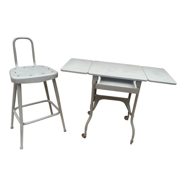Industrial Drop Leaf Desk & Stool- A Pair For Sale