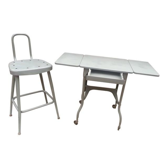 Industrial Drop Leaf Desk & Stool- A Pair - Image 1 of 8
