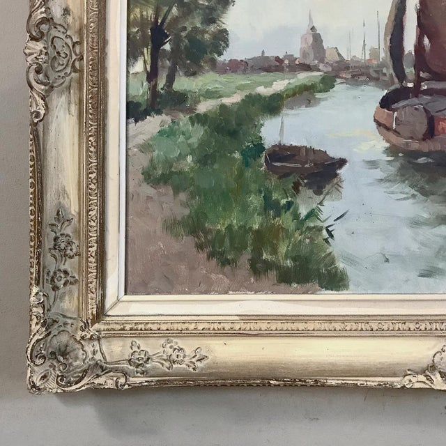 Antique Framed Oil Painting on Canvas For Sale - Image 9 of 13