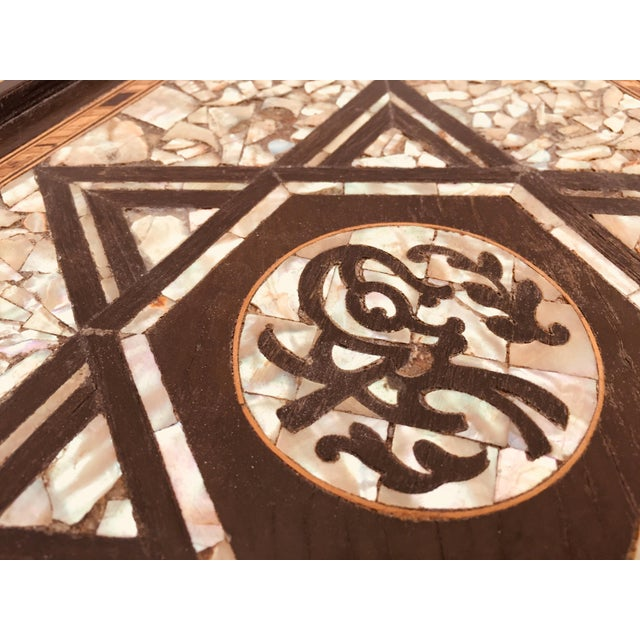 Islamic 19th Century Moorish Mother-Of-Pearl Inlaid Table For Sale - Image 3 of 13