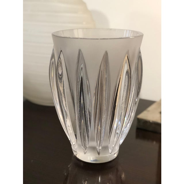 "Elegant trumpet form clear and frosted glass ""Courchevel"" vase by Lalique. Signed on base. France, 20th century."