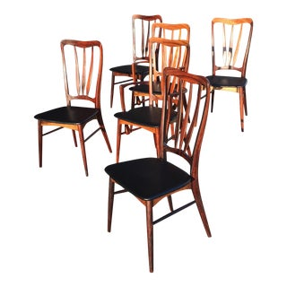 1960s Vintage Niels Koefoed Danish Rosewood Ingrid Dining Chairs- Set of 6 For Sale