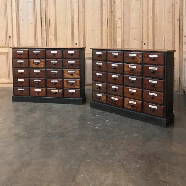 Antique French Pharmacy Cabinets With Original Enamelled Labels - a Pair For Sale - Image 4 of 12
