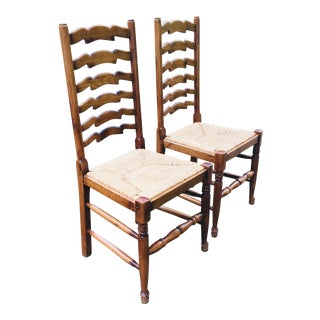 Vintage Ladder Back Rush Seat Chairs - a Pair For Sale