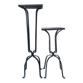 Vintage Black and White Tile Wrought Iron Base Plant Stands - Set of 2 For Sale