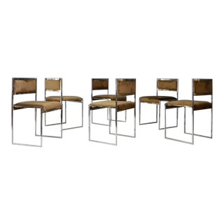 Willy Rizzo Set of Six MidCentury Chair in Brass and Chamois, 1960s For Sale