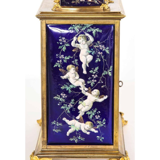 French French Bronze and Limoges Enamel Jewelry Vitrine Cabinet with Clock For Sale - Image 3 of 13