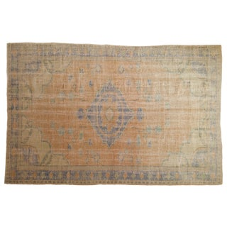 "Vintage Distressed Oushak Carpet - 6'1"" X 9'3"" For Sale"
