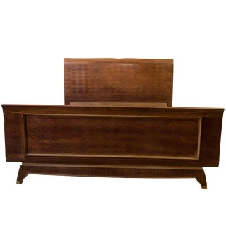 French 1940's Bed in Rosewood With Parquetry For Sale