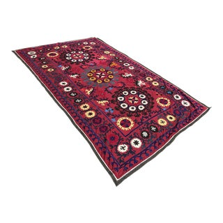Vintage Suzani Wine Red Fabric For Sale