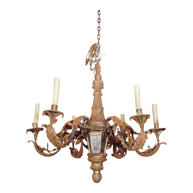 Antique French Gilt Wood and Iron Chandelier For Sale