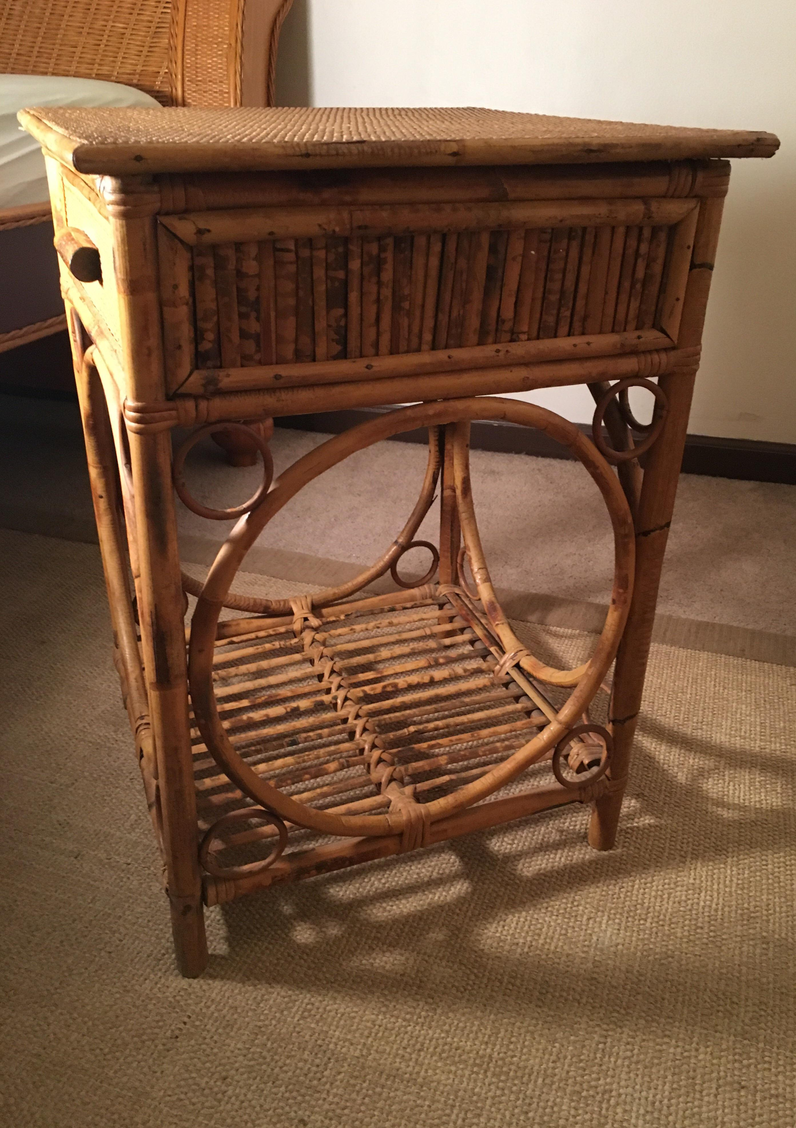 Etonnant Boho Chic Vintage Tortoise Rattan Nightstand With Drawer For Sale   Image 3  Of 4