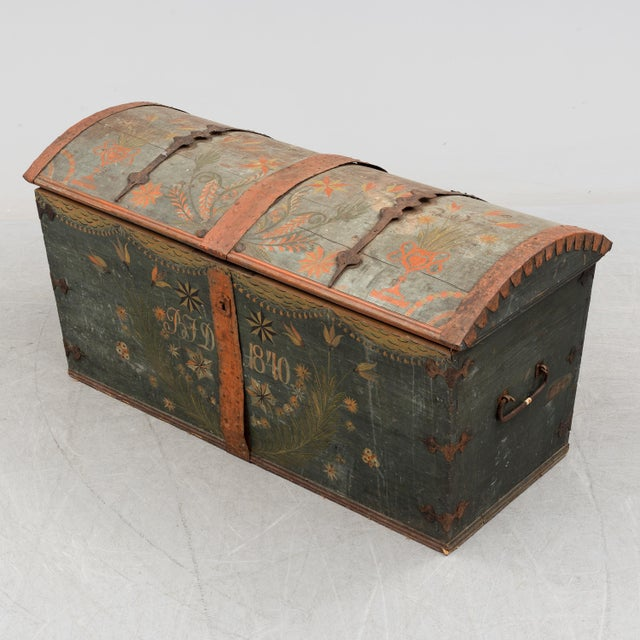 Antique Swedish Wedding Chest For Sale - Image 4 of 8