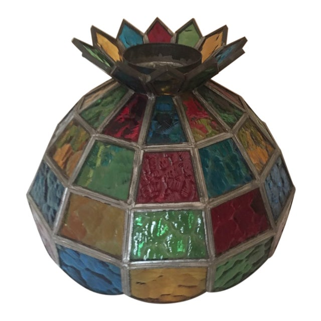 1970s Vintage Stained Glass Hanging Lamp Shade
