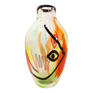 Mario Badioli Murano Art Glass Picasso Style Vase For Sale