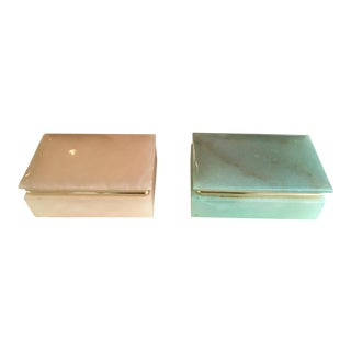 Pair of Mid-Century Alabaster and Brass Boxes in Pink and Green For Sale
