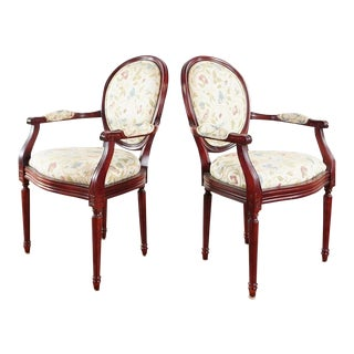 Drexel French Provincial Style Armchairs - A Pair For Sale