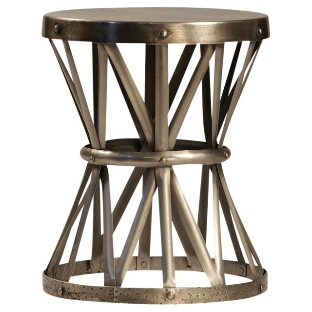Hammered Nickel X-Base Side Table For Sale