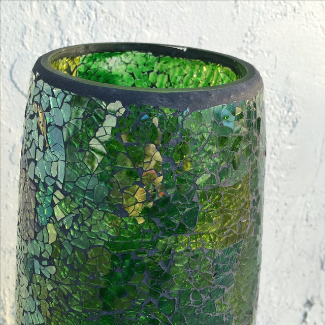 Tall Crackle Glass Vase - Image 7 of 10