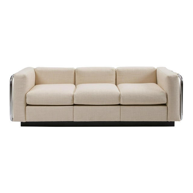 Mid-Century Tubular Chrome Wool Platform Tuxedo Sofa For Sale
