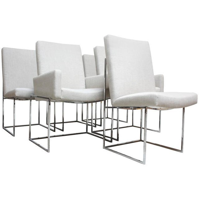 Set of Six Milo Baughman 'Thin Line' Chrome Dining Chairs - Image 3 of 11