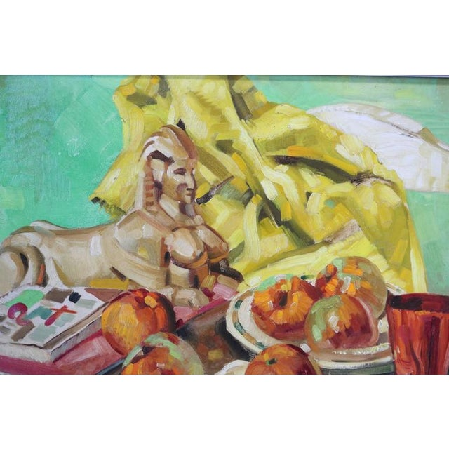 """Abstract Oil on Masonite Painting by Ralph Gagnon, Titled """"Apples in a Still Life"""" For Sale - Image 3 of 7"""