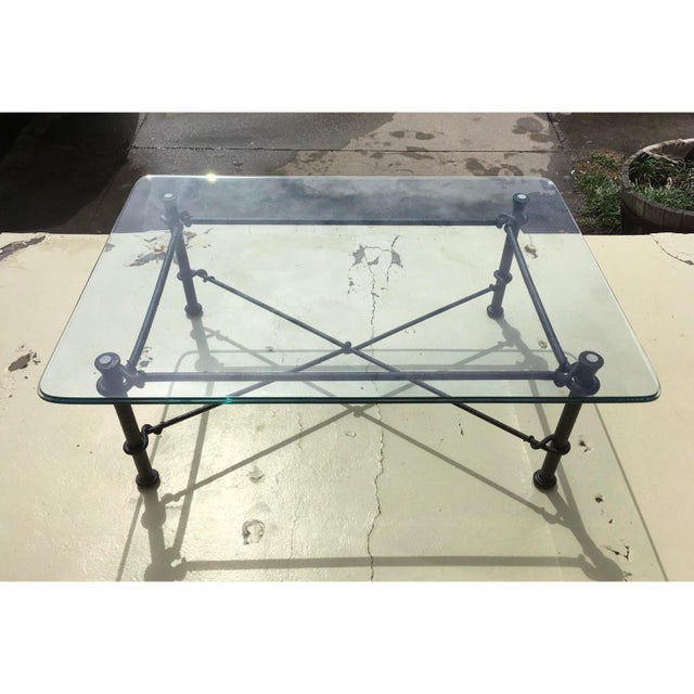 Ebony Mid-Century Modern Rectangular Wrought Iron Glass Top Coffee Table After Giacometti For Sale - Image 8 of 13