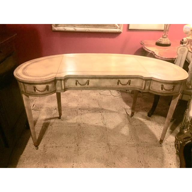 Maitland-Smith Cream Leather Writing Desk For Sale - Image 12 of 12