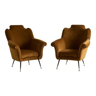 Pair of Italian Mid Century Lounge Chairs in the Style of Osvaldo Borsani For Sale