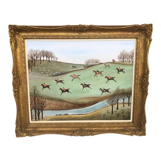 Late 20th Century Judy Manthorpe Folk Art Inspired Fox Hunt Acrylic Painting For Sale