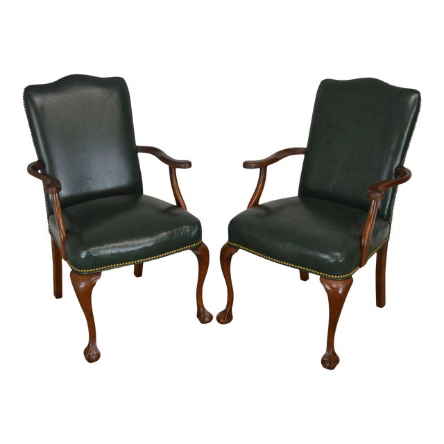 South Mark Green Leather Chippendale Style Ball & Claw Pair Armchairs (A) For Sale