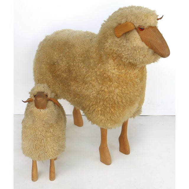 Offered for sale is a set of substantial 1980s large sheep and small lamb sculptures from Germany. The set was designed in...