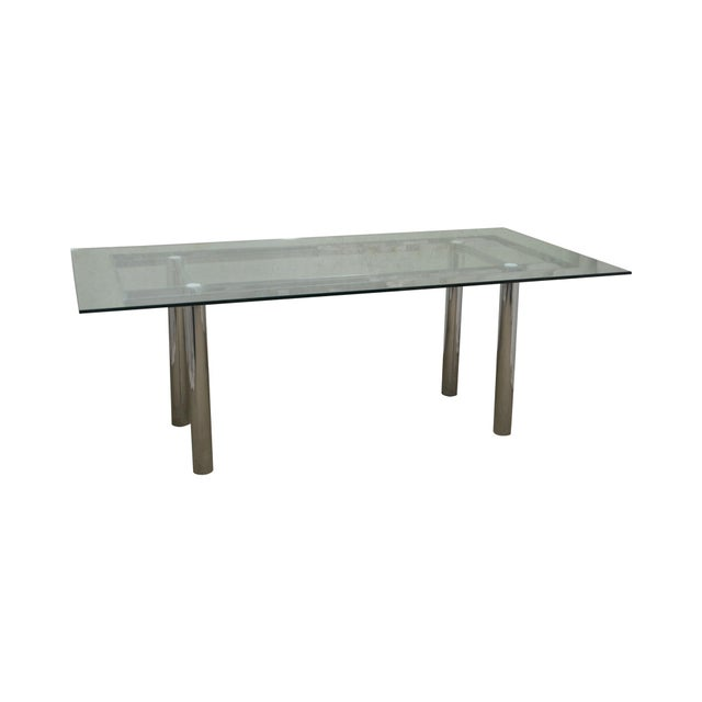 Mid Century Modern Chrome Base Rectangular Glass Top Dining Table For Sale - Image 13 of 13