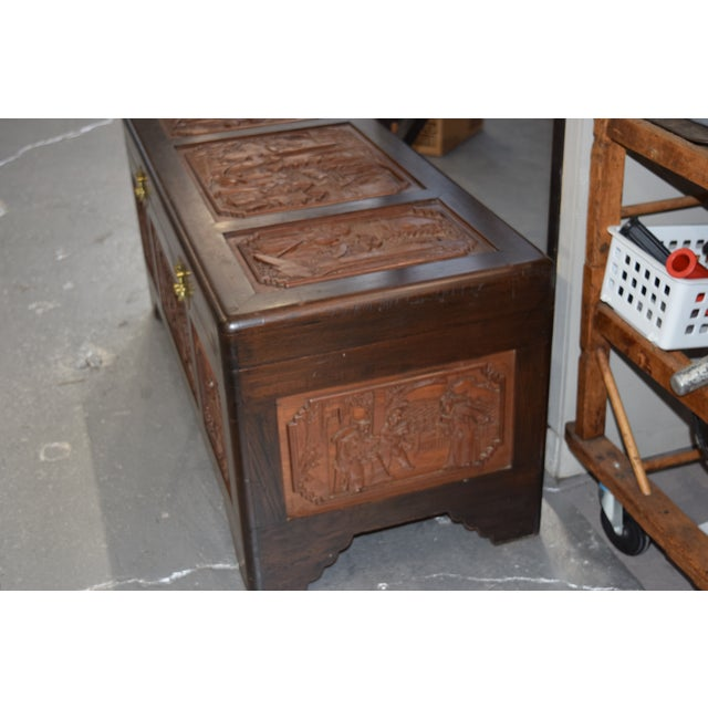 1950s Vintage Chinese Rosewood Hand Carved Camphor Interior Trunk For Sale In New York - Image 6 of 9