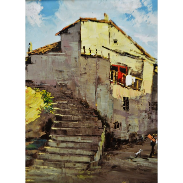 Framed European Village Scene Oil Painting For Sale - Image 5 of 11