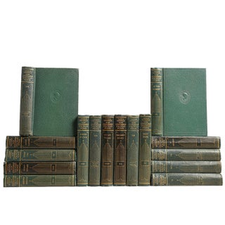 1930's Pocket-Sized Green Reference, Set of 16 Decorative Books