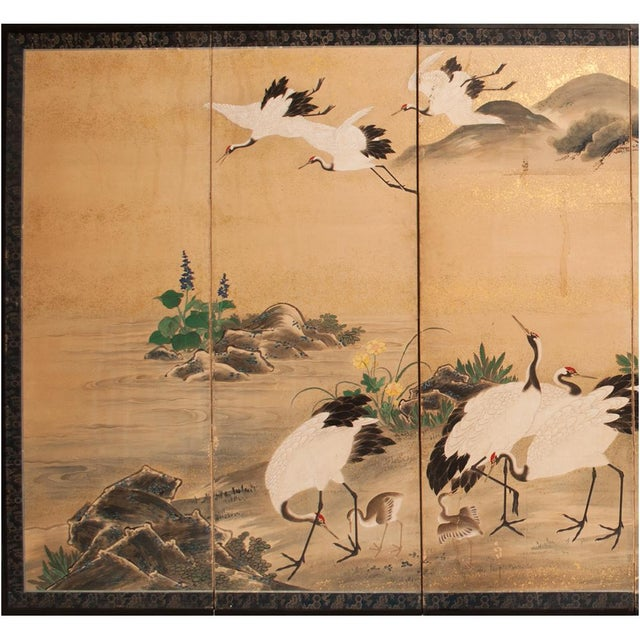 Exquisite monumental 6-panel Japanese Byobu Screen depicting a beautiful landscape with graceful red-crowned cranes, big...