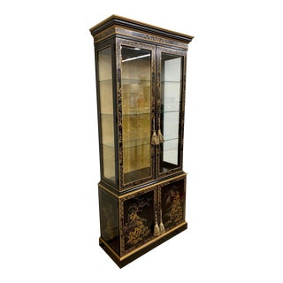 Chinoiserie Black Lacquer and Gold China Cabinet Display Case For Sale