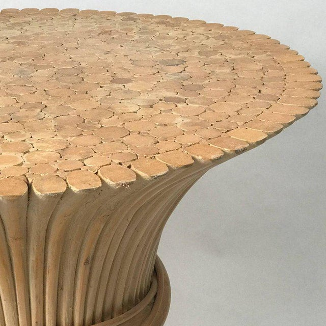 Wood John and Elinor McGuire Round Rattan Coffee or Centre Table / Glass Available For Sale - Image 7 of 9