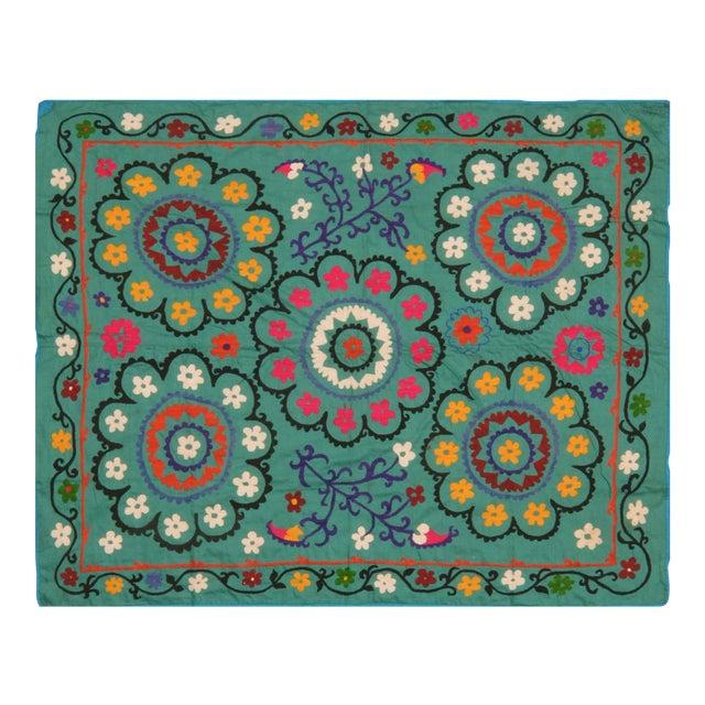 Vintage Uzbeki Suzani Turquoise Textile - 5'x6'2″ For Sale