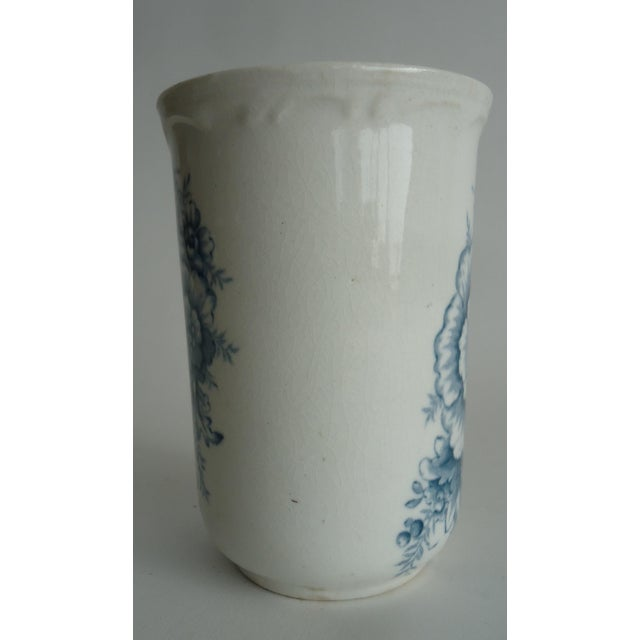 Shabby Chic 20th Century Shabby Chic Blue & White Stoneware Floral Vase For Sale - Image 3 of 7