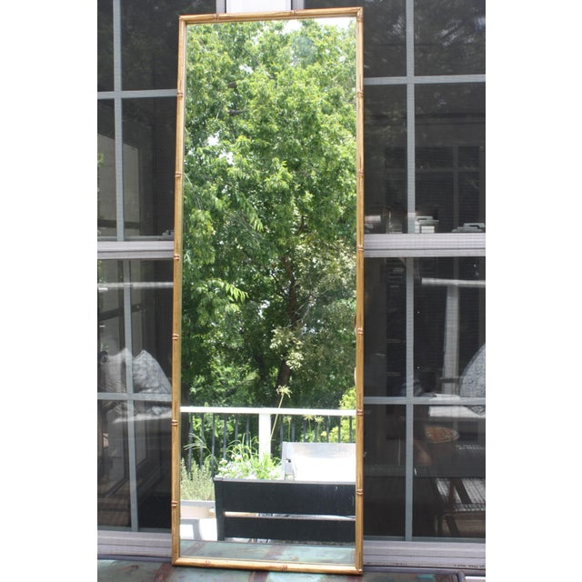 Vintage Gilt Faux Bamboo Rectangular Mirror - Image 2 of 7