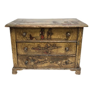 1940s Chinoiserie Miniature 3 Drawer Chest For Sale