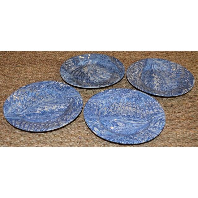 Delft Blue Firenze Marbleized Ceramic Cocktail Plates - Set of 4 For Sale - Image 4 of 10