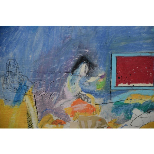 """Red Donald Borthwick (American, 20th C.) """"Nude in Room With Red Window"""" Mixed Media Original C.1964 For Sale - Image 8 of 12"""